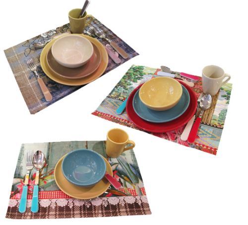 Stoviglie in ceramica extrastrong, posate acciaio e plexiglass e le tovagliette..coloratissime.