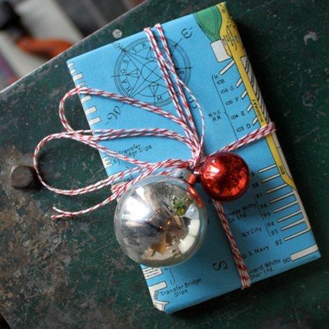 carte geografiche, vecchie pagine di giornale, fogli presi da vecchi spartiti musicali..decorati con piccole palline natalizie.