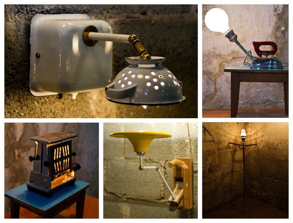 Upcycled Vintage Enamel Lamp