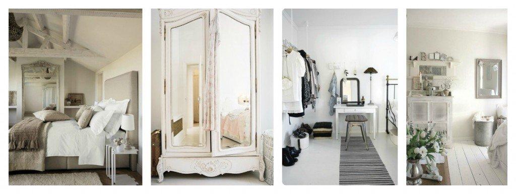 La camera da letto acquista luce dai colori chiari e profondità da giochi di specchi.