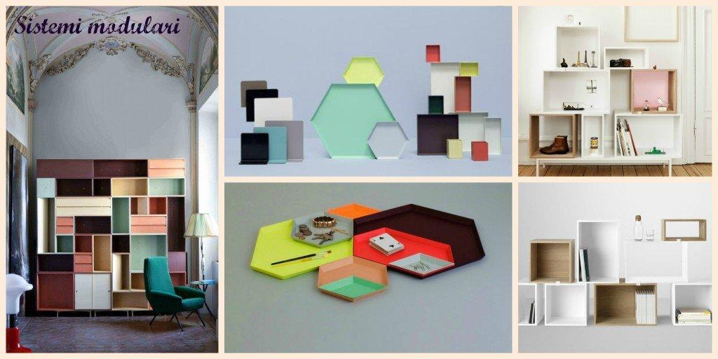 Librerie e vassoi componibili.. W-box di Palmioli e Spaccapanico, vassoio esagonale Kaleido di Hay.