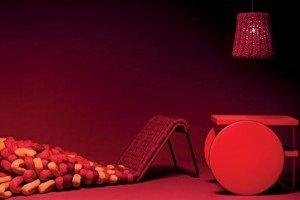 lampada crochet rossa