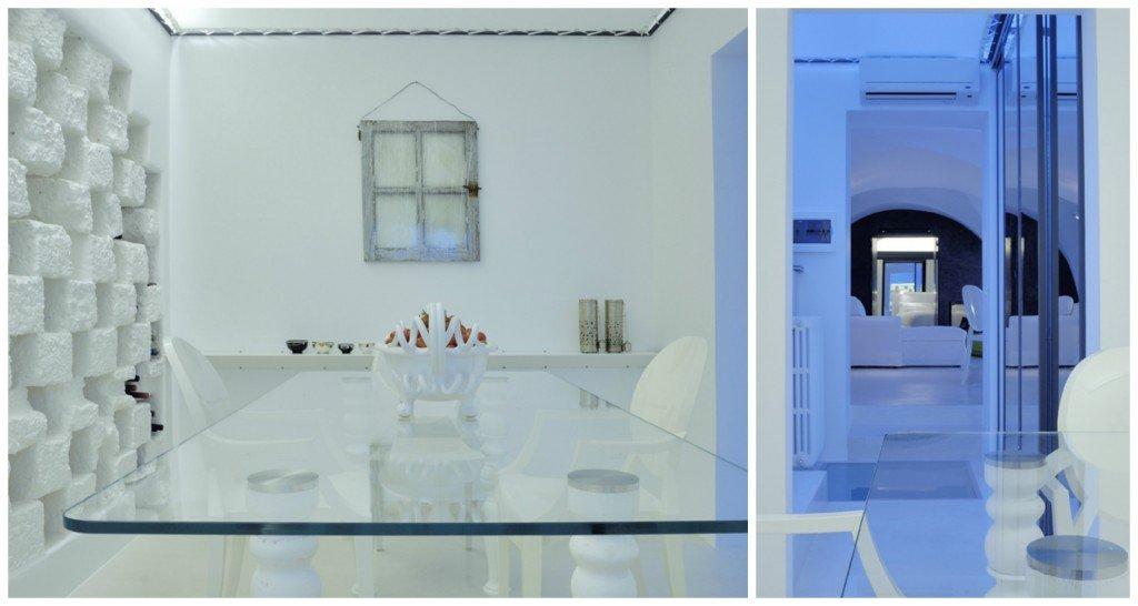 Le sedie bianche presenti in tutta la casa sono le Louis Ghost, in policarbonato, di Kartell.