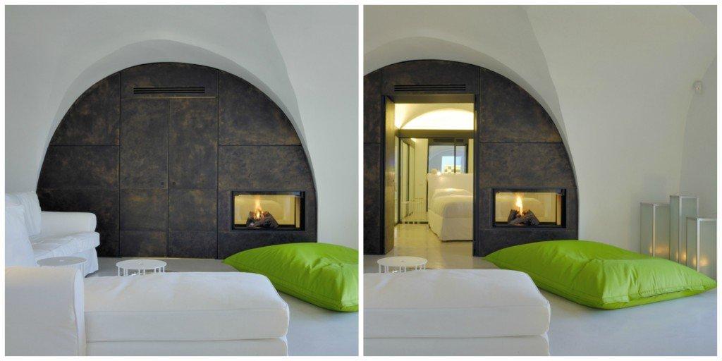 La parete, che separa il soggiorno dalla camera da letto, è in ottone bronzato.