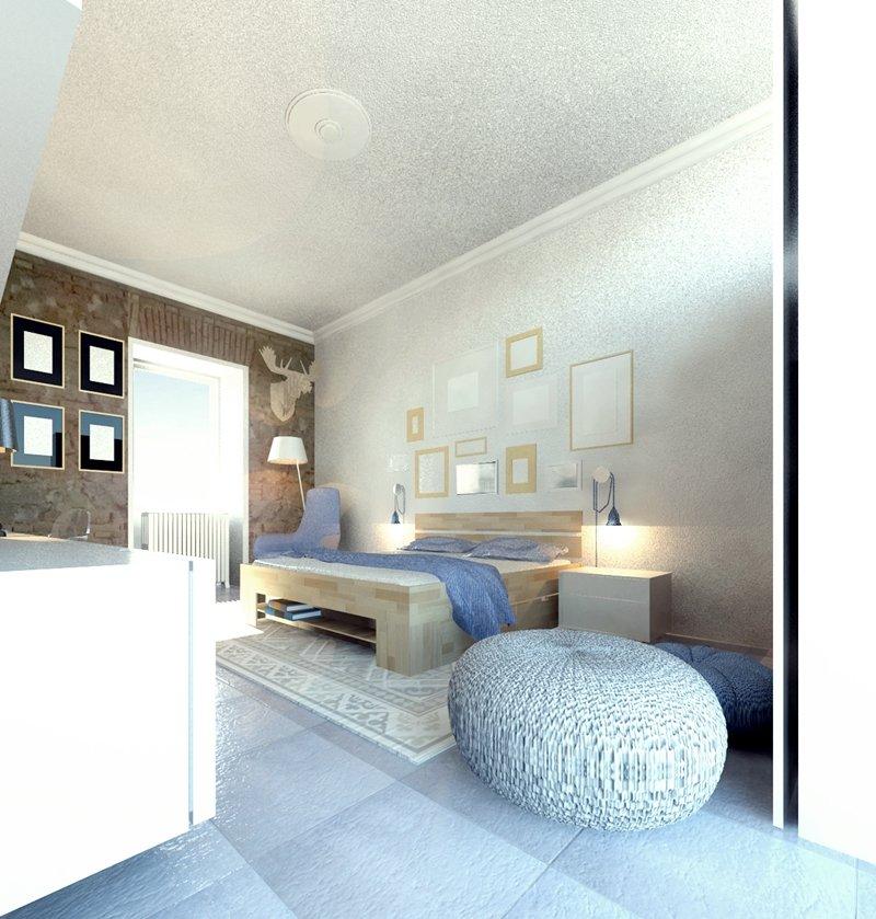 vista tridimensionale progetto camera da letto