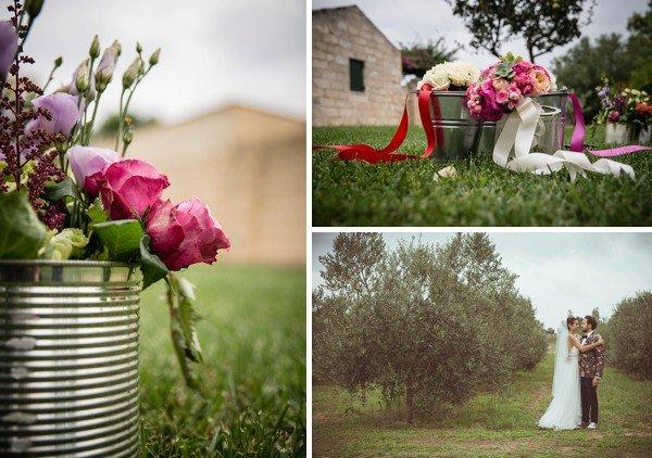 centrotavola fiori palette rosa fucsia