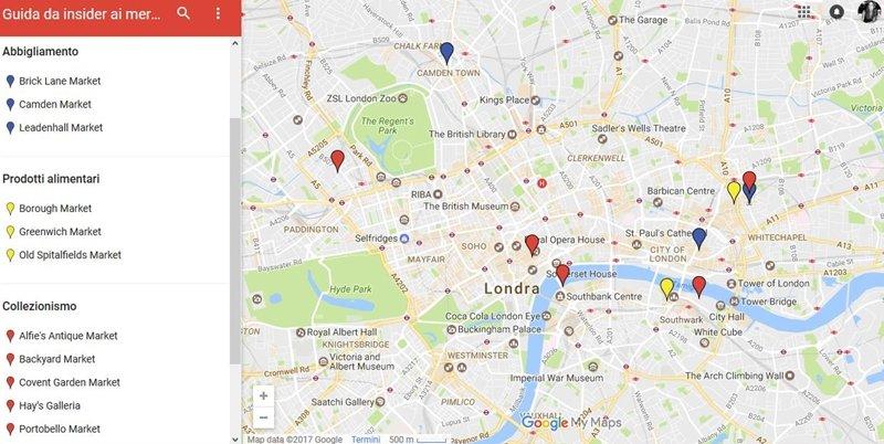 mappa mercatini Londra