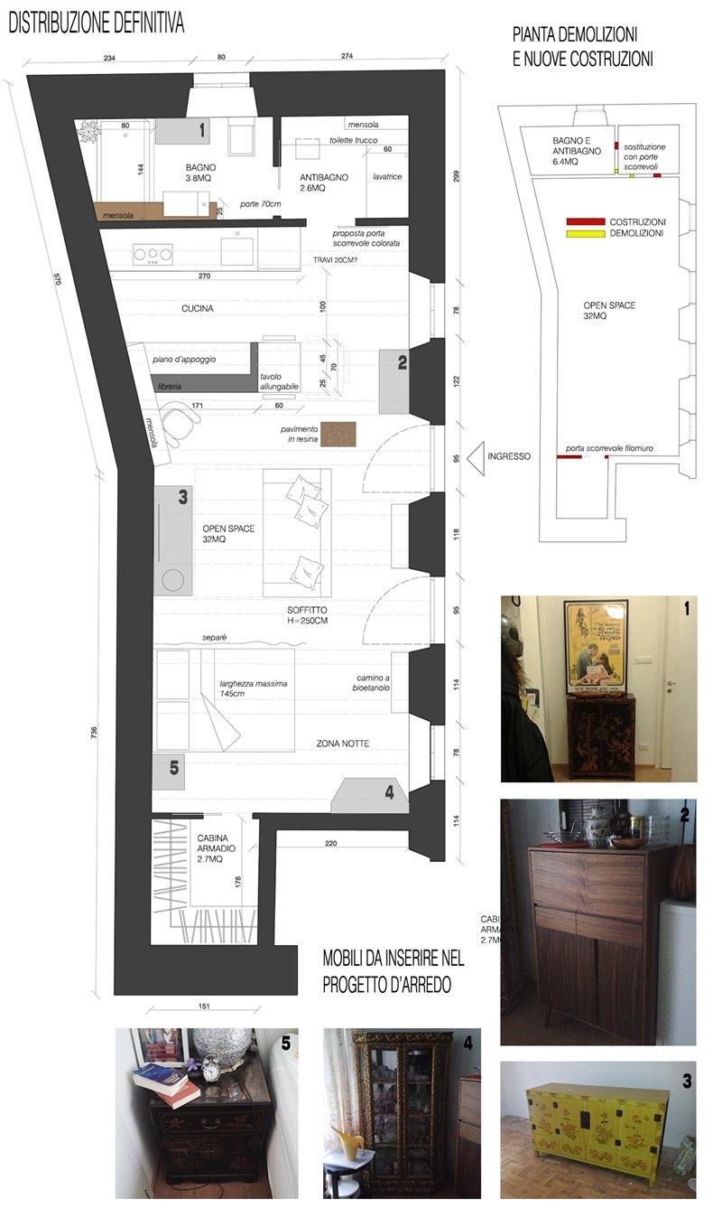 Progetto Bagno 3 Mq un piccolo loft di 40mq: cucina e bagno - a casa di ro